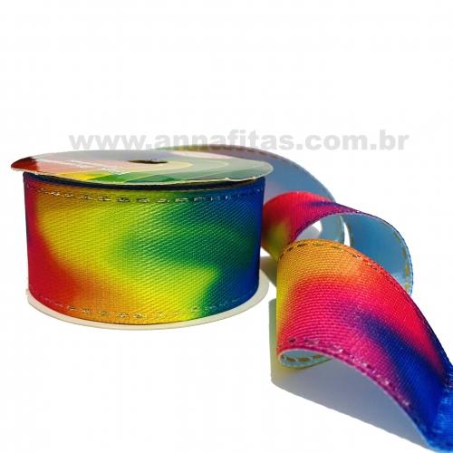Fitas Jeans Sinimbu Pespontada Tie Dye de 38mm com 10 Metros NEON COLORES 1823/38 COR 03
