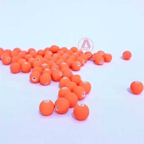 Bola Fosca Plástica emborrachadas com furo Passante Tam-8mm com 50 gramas LARANJA COR -025