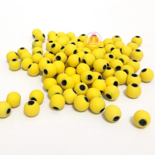 Bolas Fosca Emborrachadas de 8mm,  pacote com 50 gramas, Cor: Amarelo Ref: A10