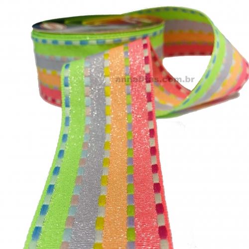 Fita Decorativa Pespontada com BRILHO 38mm Com 10 Metros Colorido COR NEON Ref - 1795/C10