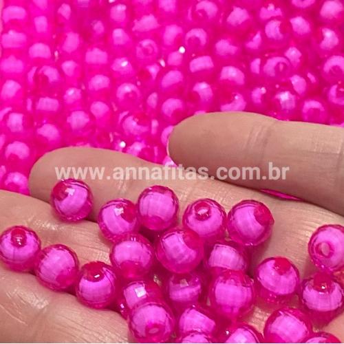 Bolas Furo Passante SEXTAVADA em ACRÍLICO tamanho 8mm Pacotinho com 50g ROSA PINK MIOLO BRANCO REF- B8SE22