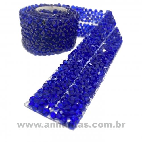 Tira de Micro Manta Cascalho 2 Tiras de 1cm Por 40cm Cor AZUL ROYAL Ref - MCAZR6