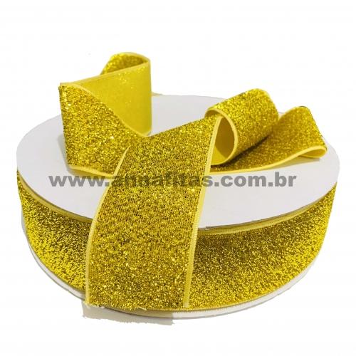 Fita Sintetica Veludo com Glitter de 38mm POR 1 METRO (Lurex Esponjada) Cor Amarelo Dourado Ref: 02