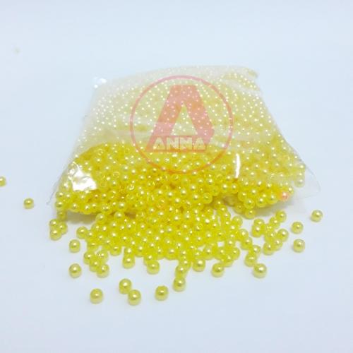 Perola ABS Furo Passante 3mm com 50 Gramas Cor Amarelo Ref:203
