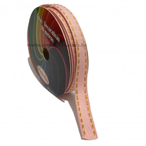 Fita Jeans Pespontada  Sinimbu de 10mm Com 10 Metros Ref:1785-10 Cor- 04 Jeans ROSA BEBÊ