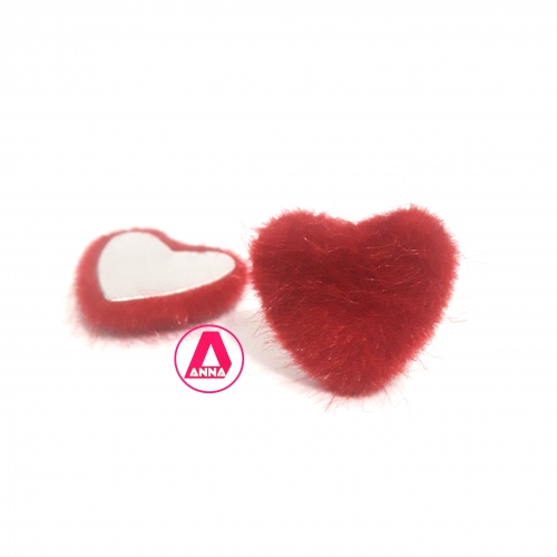 Aplique Coração Felpudo com Metal Altura 2,5 e Largura 2,5 Vermelho Unidade Ref:33