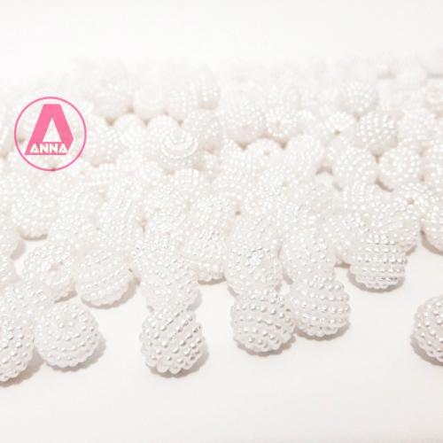 Perolas Craquelada Redondas de 10mm em ABS Pacote com 50g  Cor Branca  Ref: 129