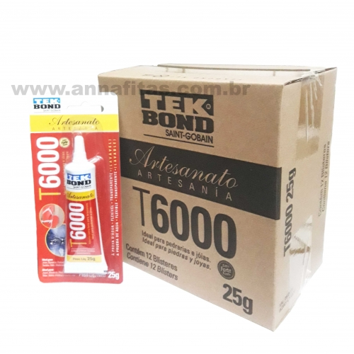 Caixa de Cola Tek bond T-6000 com 12 Unidades de 25g