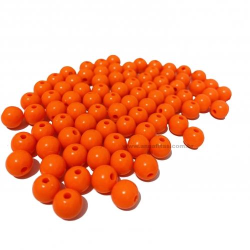 Bolas Leitosas Furo Passante de 8mm, pacote com 50 gramas, Cor- Laranja Neon Ref- LEIT035