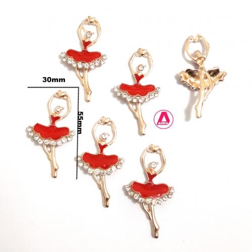 Bailarina Metal e Resina Vermelha