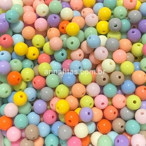Bolas Leitosas Furo Passante de 8mm, pacote com 50 gramas, Cor- Tie Dye Ref- LEIT103