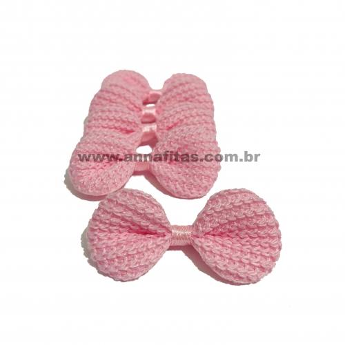 Laço de Crochê Melaço 3,0 x 5,5cm Pacotinho com 5 Unidades Cor - 04 Rosa Bebê