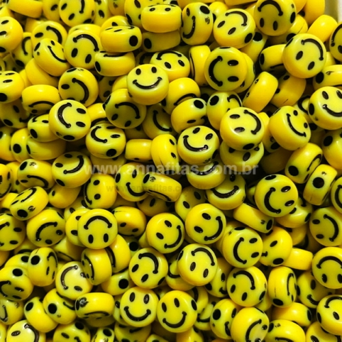 Redondo Entremeio Smile Amarelo com carinha cor preta 7mm Pacote de 50 gramas Ref: SMIL43