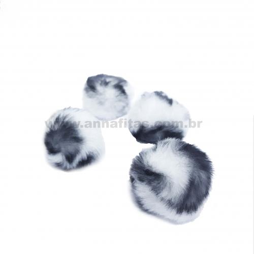 Pompom Felpudo de 4cm Pacote com 4 unidades Cor: Animal Print Branco e Preto com Preto Ref-9