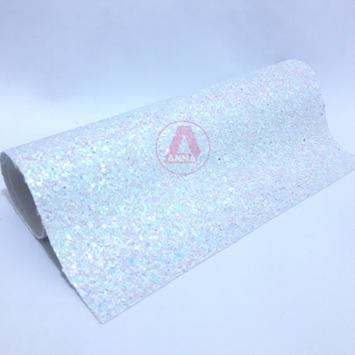 Lonita Branca brilhosa Flocada 24 por 40 cm Ref:16