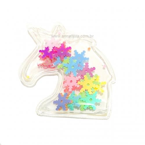 Aplique em Plástico transparente UNICÓRNIO LANTEJOULAS COLORIDAS Altura de 3,8cm (Vendido por Unidade)Ref: TUNI01