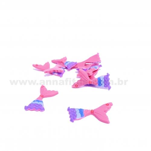 Aplique em Silicone Calda de Sereia 18x37mm ROSA com AZUL (Vendido por Unidade)