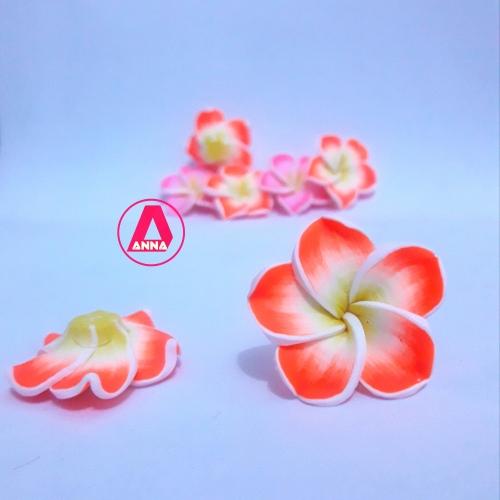 Aplique flor emborrachada 3cm Laranja neon Unidade