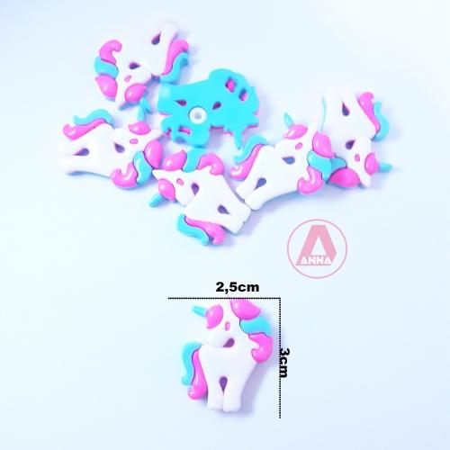 Botões Unicórnio Branco Azul e Rosa Neon a Unidade cor-157