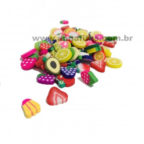Aplique Emborrachado Frutinhas mistas de 1cm Pacotinho com 15gramas REF - FRT1CM