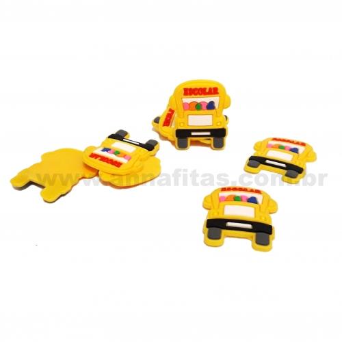 Aplique em Silicone Carro Escolar Amarelo 30x25mm Ref-2935