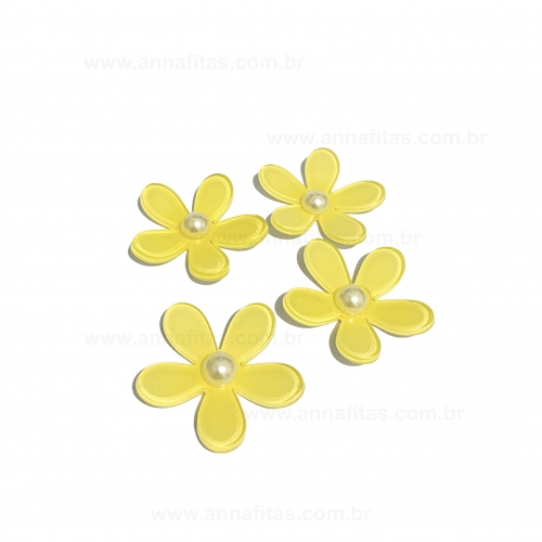 Aplique Flor Margarida em Acrílico de 4cm Cor - AMARELO BEBÊ Por Unidade Ref - FLM4AB