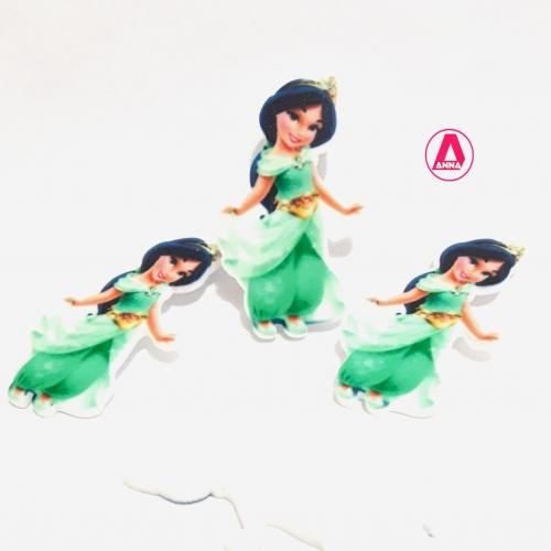 Aplique Princesa JASMINE em ACRÍLICO vestido verde, tamanho 4,5cm, venda por unidades