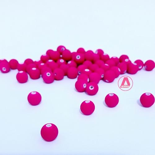 Bola Fosca Plástica emborrachadas com furo Passante Tam-8mm com 50 gramas ROSA PINK COR -022