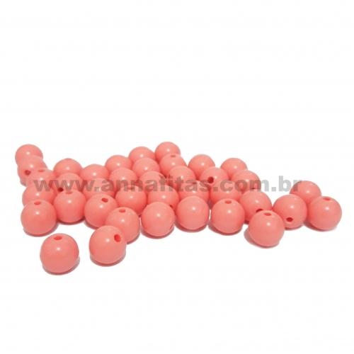 Bolas Leitosas Furo Passante de 8mm, pacote com 50 gramas, Cor - Coral Ref - 046