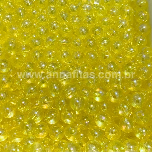 Bolas translúcida Irisadas de 8mm com  furo passante em plástico com 50g  Cor AMARELO Ref - BTI8AMA