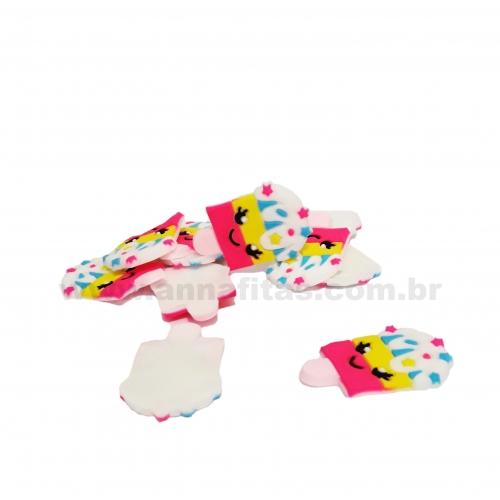Aplique em Silicone Picolé com carinha Branco Amarelo e Rosa pink 35x22mm Ref-2883
