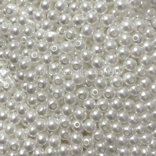 Perola ABS Furo Passante 6mm com 100 Gramas Cor Branca Gelo Ref:209
