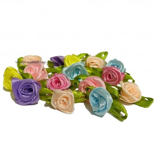 Aplique Flor de Rococó Rosas de Cetim com Folhas 1,5cm 50 unidade/ CANDY Ref:8