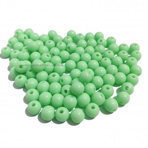 Bolas Leitosas Furo Passante de 8mm, pacote com 50 gramas, Cor- Verde água Ref- LEIT214