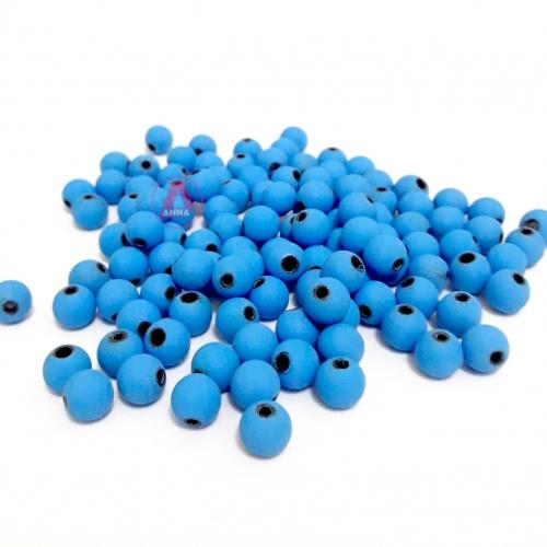 Bolas Fosca Emborrachadas de 8mm,  pacote com 50 gramas, Cor: Azul Turquesa Ref: A08