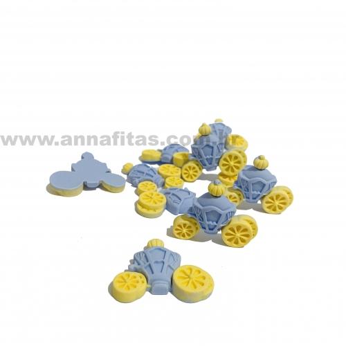 Aplique em Resina Carruagem Cinderela Azul  3,3x2,8cm Ref: TREZ09