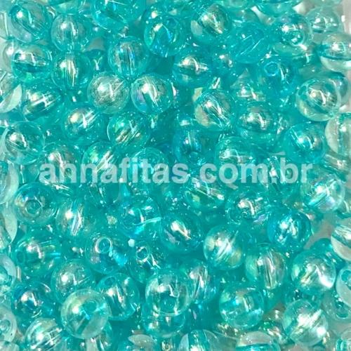 Bolas translúcida Irisadas de 8mm com furo passante em plástico com 50g Cor AZUL CLARO Ref - BTI8AZC
