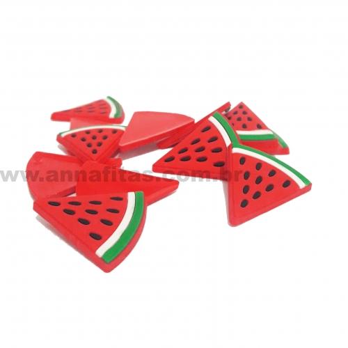 Aplique em Silicone de Fatia de  Melancia Fundo Vermelho 3x3cm (Vendido por Unidade) Ref: A42