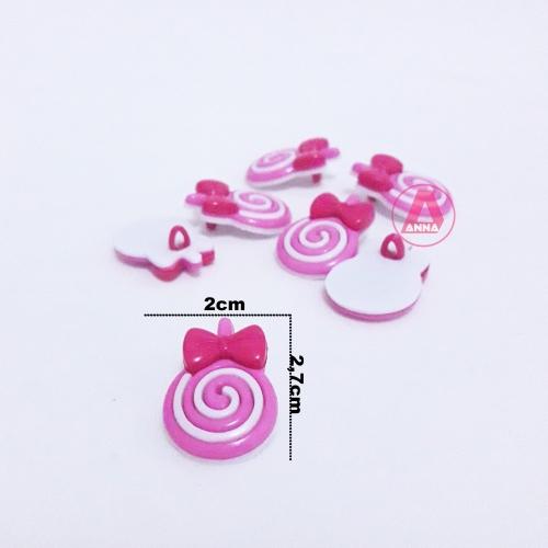 Botões Pirulito Rosa e Branco a Unidade cor-405