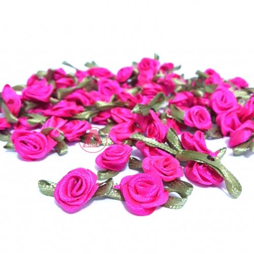 Aplique Flor de Rococó Rosas de Cetim com Folhas 1,5cm 100 unidade/ ROSA PINK  Ref:3