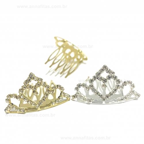 Aplique Pente Coroa 2 unidades um Dourada e um Prata Tamanho 2,2x4cm Ref - PNTC900