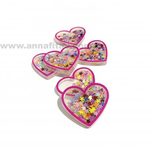 Aplique Coração em Acrílico com BORDA ROSA PINK E ESTRELINHAS COLORIDAS 3,2x3,7cm  Ref:  TCAC3