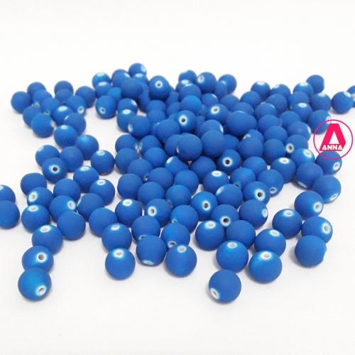 Bola Fosca Plástica emborrachadas com furo Passante Tam-8mm com 50 gramas Azul Royal COR -604