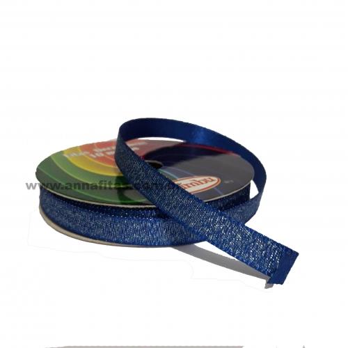 Fita Sinimbu Lurex Nº2 de 10mm Dupla Face com 10 Metros Cor- 07 Azul