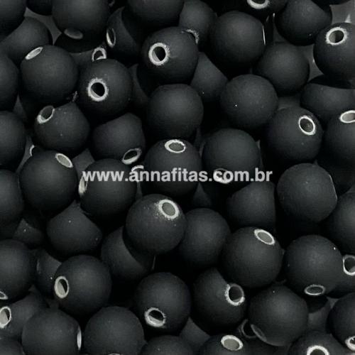 Bola Fosca Plástica emborrachadas com furo Passante Tam-10mm com 50g cor PRETO FURO BRANCO COR -  10BLE06