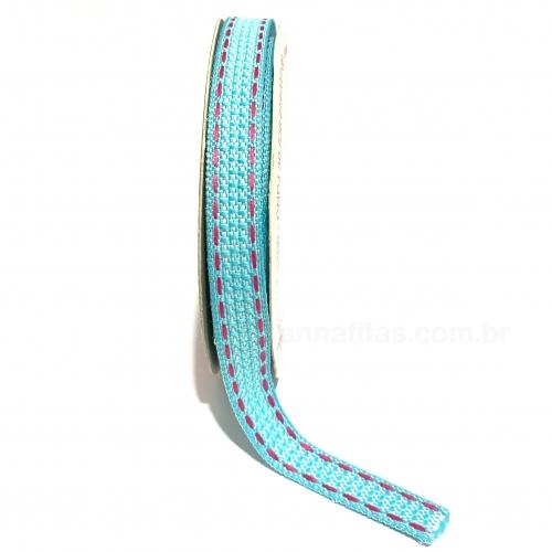 Fita Sinimbu Pespontada de 10mm Com 10 Metros AZUL FROZEN COM LINHA ROSA PINK Ref-1809/10-C04