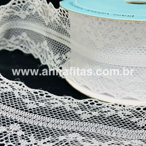 Fita de RENDA Melaço cor Branca de 40mm Com 10Metros Cor -01