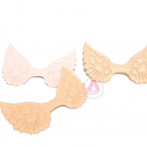 Aplique Asa Com Glitter de Courinho 50mm Por 30mm Cor Rosa Bebê Ref:  9