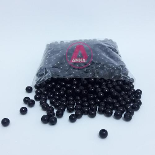 Perola ABS Furo Passante 6mm com 100 Gramas Preta Ref:299