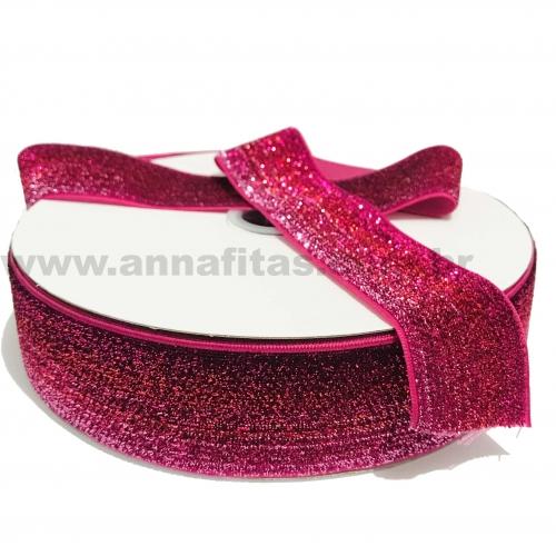 Fita Sintética Veludo com Glitter de 38mm POR 1 METRO (Lurex Esponjada) Cor ROSA PINK DEGRADÊ PRATA Ref: 43